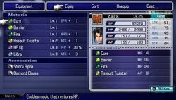 Materia Menu Crisis Core