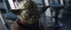Yoda tijdens het overlijden van Padme