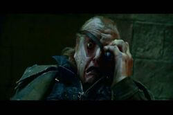 Barty crouch jr. gets revealed as his polyjuice potion wears off.