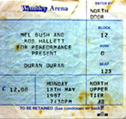 Ticket duran duran concert wembley london 1987