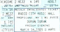 DURAN DURAN TICKET MARCH 1989 Big Electric Thing 1989