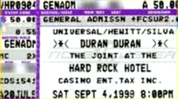 Duran duran ticket The joint, Las Vegas , Nevada , USA 04-09-99