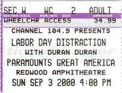 Ticket duran duran 3 sep 2000 great america
