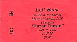 Ticket duran duran 9 october 1981