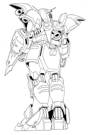 XXXG-01D Deathscythe Back View Lineart
