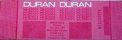 Ticket duran duran belfast 1987-04-23 ticket