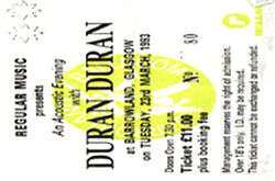 Ticket duran duran glasgow 1993