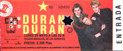Ticket duran duran 25 may palacio municipal de los deportes