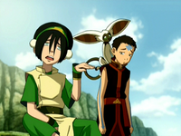 Toph, Aang, and Momo
