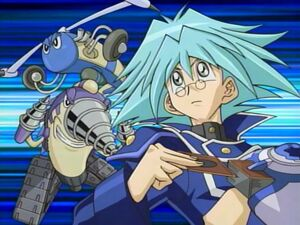 "Syrus in Obelisk Blue, with ""Drillroid"" and ""Gyroid""."