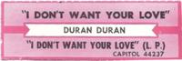 Duran duran i don't want your love jukebox label