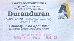 Ticket duran duran london arena 22 april 1989
