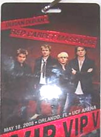 Duran duran vip pass orlando 18 may 2008 florida a