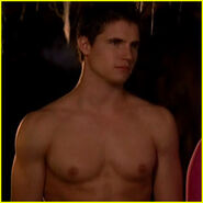 robbie amell with his shirt off