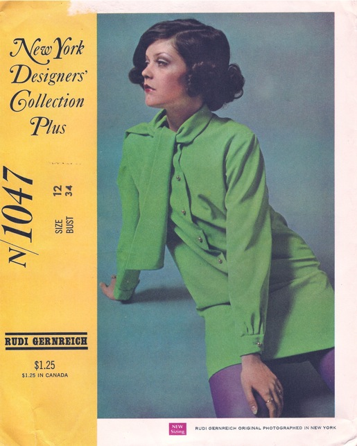 McCall's 1047 by Rudi Gernreich 1960s green minidress with scarf collar