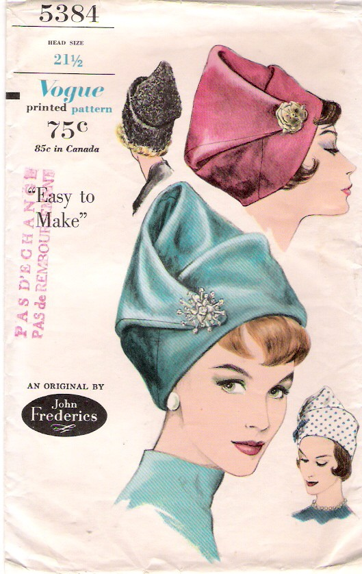 Vogue 5384 1960s John Frederics hat pattern