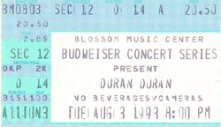 Duran duran ticket blossom music center 3 aug 1993 a