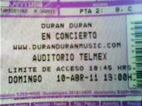TICKET DURAN DURAN MEXICO 2