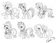 Lauren Faust preliminary sketches of Main 6