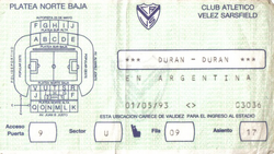 Velez Sarfield Stadium, Buenos Aires, Argentina 1 may 1993 duran duran ticket