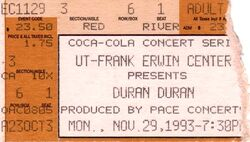 Duran duran concert ticket frank erwin center ticket 29 nov 93