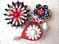 All American Flowers. Red White Blue. Three Glamorous Refridgerator Magnets. Collaged Vintage Jewelry. Repurposed Brooch and Earrings. Memorial Day. July 4th.jpeg