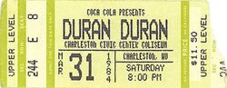 Duran duran ticket 31 march 84