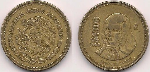 1988 1000 Mexican Coin http://currencies.wikia.com/wiki/Mexican_1000_peso_coin
