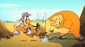 Crusher Drives his Pickaxe in Bugs and Daffy&#39;s Chain