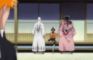 Yoruichi explains the situation to Kyoraku and Ukitake