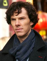 Benedict Cumberbatch filming Sherlock cropped