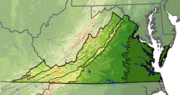 Terrain map of Virginia divided with lines into five regions. The first region on the far left is small and only in the state&#39;s panhandle. The next is larger, and covers most of the western part of the state. The next is a thin strip that covers only the mountains. The next is a wide area in the middle of the state. The left most is based on the rivers which diffuse the previous region.