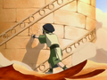 Toph slowing down the library.png