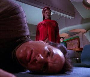 Guinan and Q (2366)