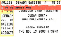 Agora theatre usa ticket duran duran duran