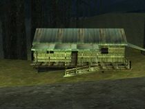 Shady cabin in the woods
