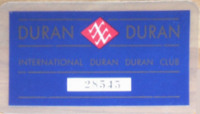 International fan club card duran duran