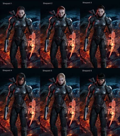 Mass Effect 3 female Shepard designs