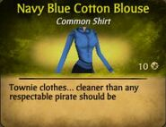 Navy Blue Cotton Blouse