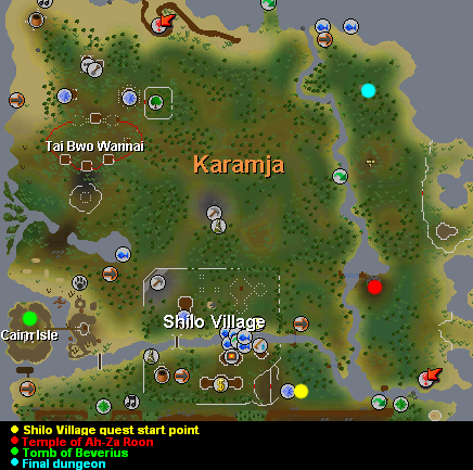 Shilo Village quest Karamja map