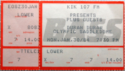 Ticket duran duran band Olympic Saddledome in Calgary canada. Dated Monday, January 30, 1984