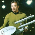 USS Enterprise three foot model held by William Shatner.jpg