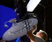 USS Enterprise-D six-foot studio model set up for filming at ILM