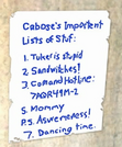 Caboose&#39;s Important List of Stuff