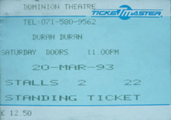 Ticket duran duran event Dominion Theatre, London (UK) - 20 March 1993