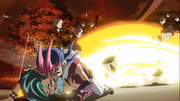 Yuma saves Tori from the blast