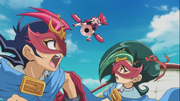 Yuma and Tori disguised as D.D. ESPer Star Robin