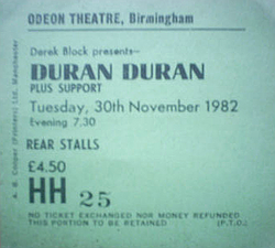 Ticket event show Odeon, Birmingham (UK) - 30 November 1982 duran duran