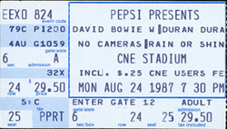 Ticket ticketmaster website david bowie duran duran Molson CNE Stadium, Toronto, ON (Canada) - 24 August 1987 discogs wiki look at stubs