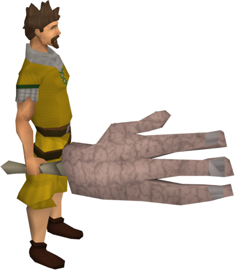 Giant's hand equipped